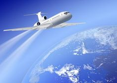 Illustration about White airplane over earth on blue background. Illustration of cruise, traffic, holiday - 13119869