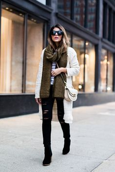 Pam Hetlinger wearing a Mango Striped Tee, Mango Black Booties, DSTLD Black Ripped Jeans, Mango Fringe Cardigan and a Forever 21 Khaki Scarf