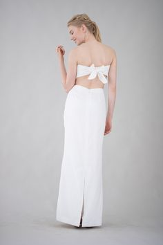 Silk crepe strapless wedding dress