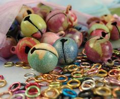Premium Bells with Floral Pattern 12mm Plus Jump Rings -These Make NoIsE - Instant PaRtY - 50 Colorful Assortment. $14.00, via Etsy.