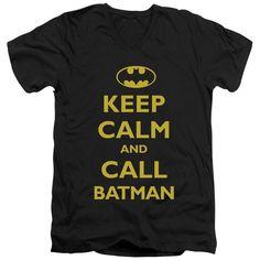 Batman/Call Batman Short Sleeve Adult T-Shirt V-Neck in