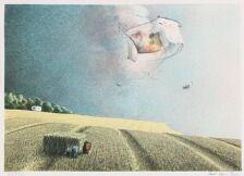 1705/622 - Poul Anker Bech: Komposition. Sign. Poul Anker Bech, 53/250. Litografi i farver. Lysmål 43 x 60.