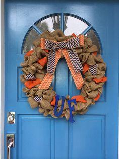 Custom made University of Florida wreath, gators wreath, burlap gator wreath on Etsy, $55.00