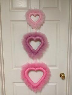 Valentines Heart Wreath - Valentines Wreath - Valentines Heart Wreath - Valentines Tulle Wreath. $55.00, via Etsy.