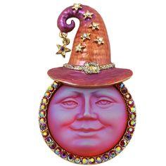 Seaview Moon Witch Pin Pendant (Goldtone/Sunset Orange)