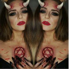 Devil pentagram makeup #halloweenmakeup #devil #sculptgel #sfxmakeup #makeupbycherece