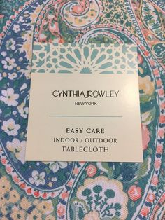 Cynthia Rowley Pastel Paisley Poly In/OutdoorTablecloth Various Shapes Size NEW Outdoor Tablecloth, Cynthia Rowley, Paisley, Shapes, Prints, Printed, Art Print, Shawl