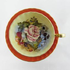 Orange Aynsley Tea Cup and Saucer with Pink Rose and Floral Bouquet, Signed by Artist Bailey, Bone China