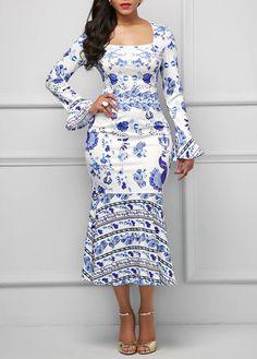 Printed Flare Sleeve Peplum Hem Midi Sheath Dress | Rosewe.com - USD $33.08