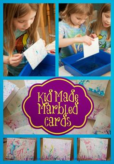 Kid made marbled cards - enchanted homeschooling mom activities for kids. Fun Arts And Crafts, Crafts For Kids To Make, Projects For Kids, Fun Crafts, Art For Kids, Kid Art, Kids Fun, Art Projects, Craft Activities For Kids