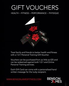 ARE YOU STUCK FOR GIFT IDEAS?  Why not get someone a Personal Training Gift Voucher to help them on their way to better Health and Wellbeing. Vouchers can be purchased for any value from 25. They can then be redeemed against any of the following:  1:2:1 Personal Training  Small Group Personal Training (Max 4)  Junior Personal Training (8 - 15 year olds)  Online Personal Training Packages  Please share if you think you have friends that may be interested. More information can be found at the…