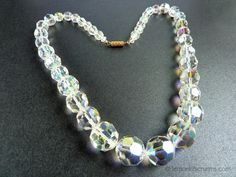 Vintage AB Crystal Clear Beaded Necklace Jewelry 1950s