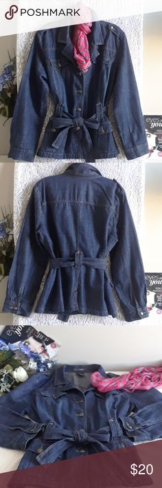 "Button down Denim jacket EUC, like new, two pockets, adjustable tie belt, sleeve 23"", length 25 1/2"", armpit to armpit laying flat 21 1/2"" French Cuff Jackets & Coats Jean Jackets"