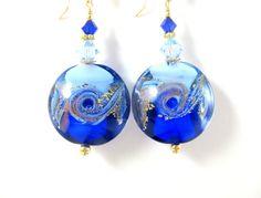Beach Earrings Cobalt Light Blue Gold by GlassRiverJewelry on Etsy