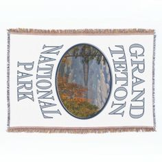 Grand Teton National Park Fall Reflection Souvenir Throw Blanket  This logo style souvenir design features landscape nature travel photography of beautiful fall reflections of the mountains on Jackson Lake in the Grand Tetons. Great gift for a park lover, hiker, climber or outdoorman or woman. #nationalpark #grandteton #tetons #gift