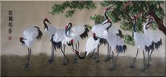 Chinese Cranes Embroidery,Traditional Chinese Gift,Crane Hand Embroidery Art. Artist - Chen Chaipin.