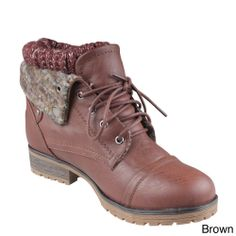 Refresh 'Wynne-01' Women's Lace-up Combat Ankle Boots | Overstock.com Shopping - Big Discounts on Refresh Booties
