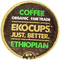 EKOCUPS  Organic Artisan Coffee, Ethiopian,  Medium roast for Keurig K-cup single serve Brewers, Each 0.45 Oz, Net Wt. 4.5 Oz, 10 count *** undefined