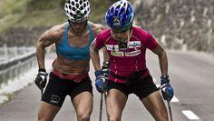 Rollerskiing - Therese Johaug og Marit Bjørgen i Seisser Alm, Italia