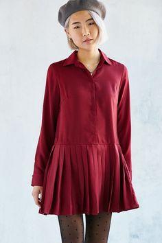 Love Sadie Pleated Drop-Waist Shirtdress