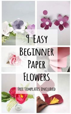 beginner paper flower tutorial with free svg and printable pdf templates Easy Paper Flowers, Tissue Flowers, Paper Flower Tutorial, Flower Svg, Flower Template, How To Make Diy, How To Make Paper, Diy Paper, Paper Crafts