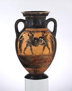 Terracotta amphora (jar)  Period: Archaic Date: ca. 530–520 B.C. Culture: Greek, Attic
