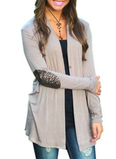 Stylish Collarless Elbow Sequined Loose Cardigan For Women