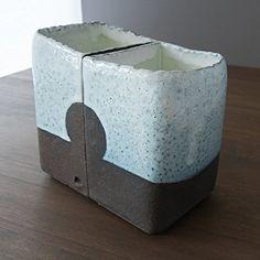 Handmade Contemporary Ceramic Sculptural Vase Pair Contemporary Ceramics, Bud Vases, Sculpture, Handmade, Food, Hand Made, Modern Ceramics, Sculpting, Meals