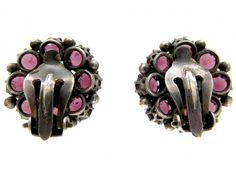 """Dorrie Nossiter Garnet Earrings 2cm x 2cm 0.8"""" x ⅘in Unmarked. Sold by the Antique Jewellery Company. Image 4 of 4."""