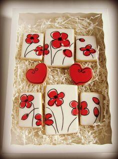 art deco hearts & flowers