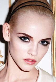 Those eyes!Those #eyes! Piercing well lined #BlueEyes with black #eyeliner around the eye but not in the inner corner of the eye. http://minkilashes.org/best-eye-makeup-for-blue-green-eyes-and-fair-skin-style-guide-2/