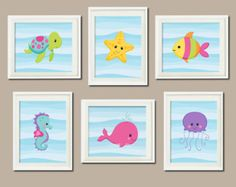 Baby Girl Nursery Art Sea Life Sea Animals Under The Sea Nursery Decor Sea Animals Bathroom Decor Set of 6 Prints Nautical Wall Art