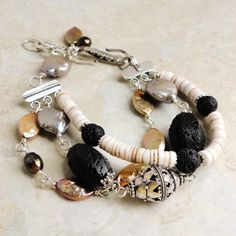 Triple Strand Bracelet with Bali Sterling Silver, Pearl, Shell, and Lava Stone, Handmade on Etsy, $71.95