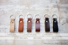 Genuine leather key fob brown leather keychain mens leather key chain thick leather key holder belt strap leather keychain leather key ring