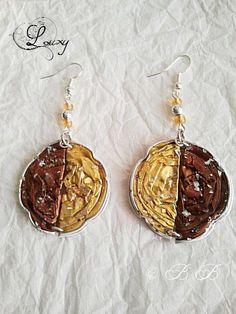 Boucles d'oreilles or et marron aluminium : Boucles d'oreille par babi-et-ses-bijoux