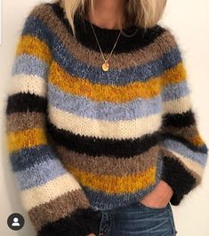 Ravelry: Sandra sweater pattern by Siv Kristin Olsen If you need yarn to this sweater, I sell knitting kit. Loose Knit Sweaters, Mohair Sweater, Warm Sweaters, Casual Sweaters, Knitting Blogs, Sweater Knitting Patterns, Retro Outfits, Pulls, Knitwear