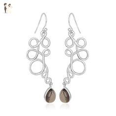 Smoky Quartz 925 Sterling Silver Gemstone for Women - Wedding earings (*Amazon Partner-Link)