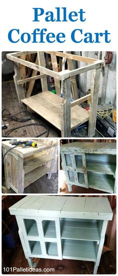 Pallet Coffee Cart - 101 Pallet Ideas                                                                                                                                                                                 More
