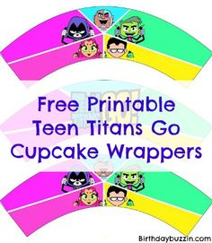 Free Printable Teen Titans Go Cupcake wrappers
