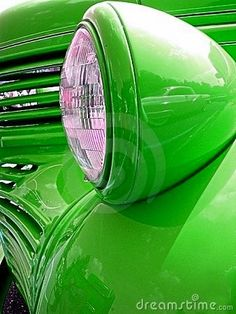 Green car headlight