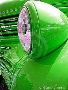 Green car headlight
