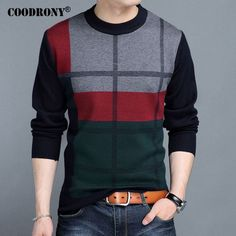 COODRONY Mens Sweaters 2017 Winter New 100% Cashmere Thick Warm Sweater Men Striped O-Neck Pullover Men Heavy Wool Knitwear 7203