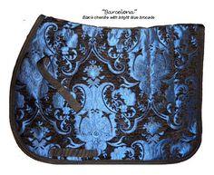 "STUNNING ""BRIGHT BLUE BLACK"" CHENILLE BROCADE ENGLISH SADDLE PAD - baroque #CloseContactAllPurpose #SADDLEPAD"