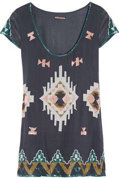 ANTIK BATIK  Aztec sequined silk-crepe top
