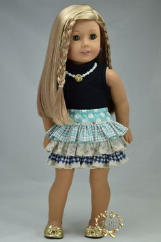 American girl doll clothes 2 items Tee & skirt by PurpleRoseNY2nd