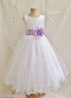 NEW WHITE LILAC PURPLE LAVENDER PAGEANT FLOWER GIRL DRESS 1 2 4 6 8 10 12 14