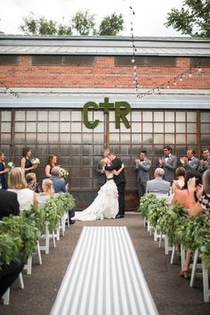 Flowers by Lace and Lilies, Denver Colorado Wedding, Foliage Garlands, Aisle Decor, Moss Letters, First Kiss