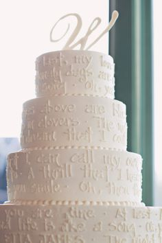 "White Wedding Cake--I love the idea of white-on-white writing on the cake. There's a wonderful quote from ""The Prophet"" that would be so great for this"