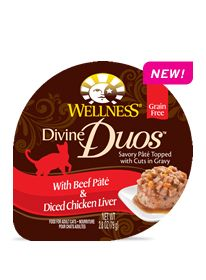 Wellness Natural Pet Food Divine Duos With Chicken Pâté & Diced Salmon combines two tasty layers in one cup! Six tasty varieties.  Learn more: http://weln.es/1oPJwFM