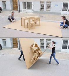 pop-up cardboard desk